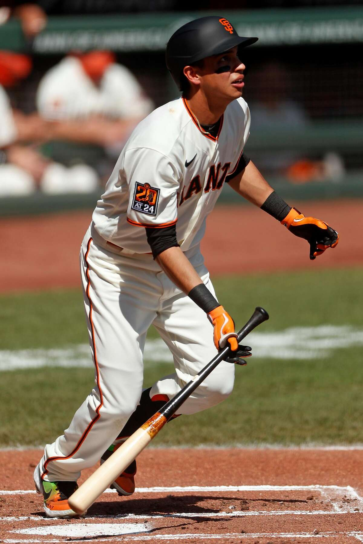 San Francisco Giants' Mauricio Dubon watches his solo home run in 2nd inning against San Diego Padres during MLB game at Oracle Park in San Francisco, Calif., on Sunday, September 27, 2020.