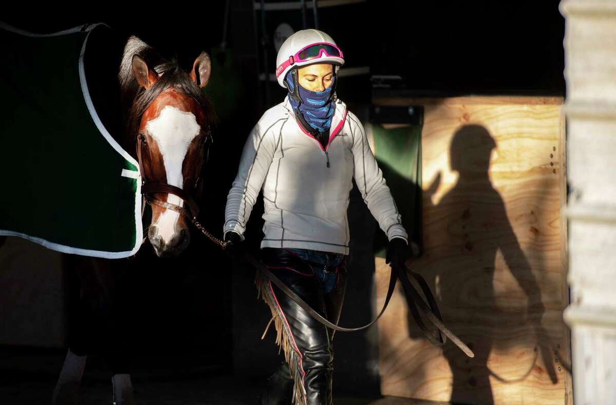 Breeders?• Cup entrant Tiz the Law cools out in the barn this morning with exercise rider Heather Smullen at his head after a successful breeze at Keeneland Race Course Oct. 31, 2020 in Lexington, KY. Photo Special to the Times Union by Skip Dickstein