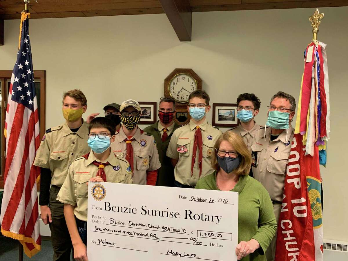 The Benzie County Sunrise Rotary Foundation awarded grants to the Benzie County Schools seventh grade robotics program, Boy Scout Troop 10 and the Blessings in a Backpack program. (Courtesy photo)