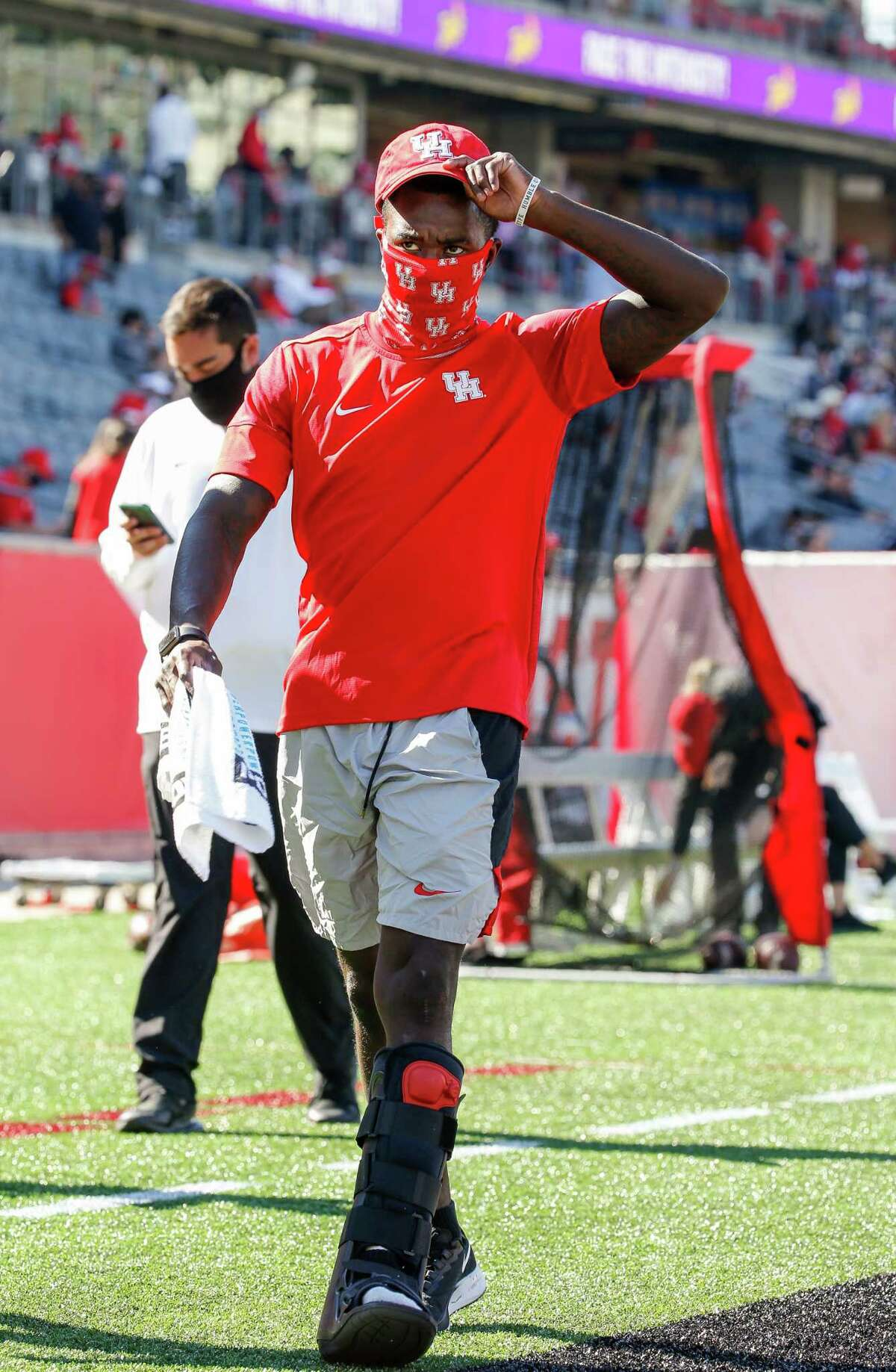 Houston Cougars wide receiver Marquez Stevenson (5) seen wearing a boot after injuring his foot in the first half of an NCAA football game against the UCF Knights at TDECU Stadium on Saturday, Oct. 31, 2020, in Houston.