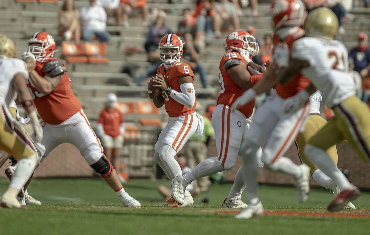 Clemson quarterback D.J. Uiagalelei, making his first start, drops back to pass against Boston College. Uiagalelei was 30-for-41 passing for 342 yards and two touchdowns and had a 30-yard third-quarter TD run.