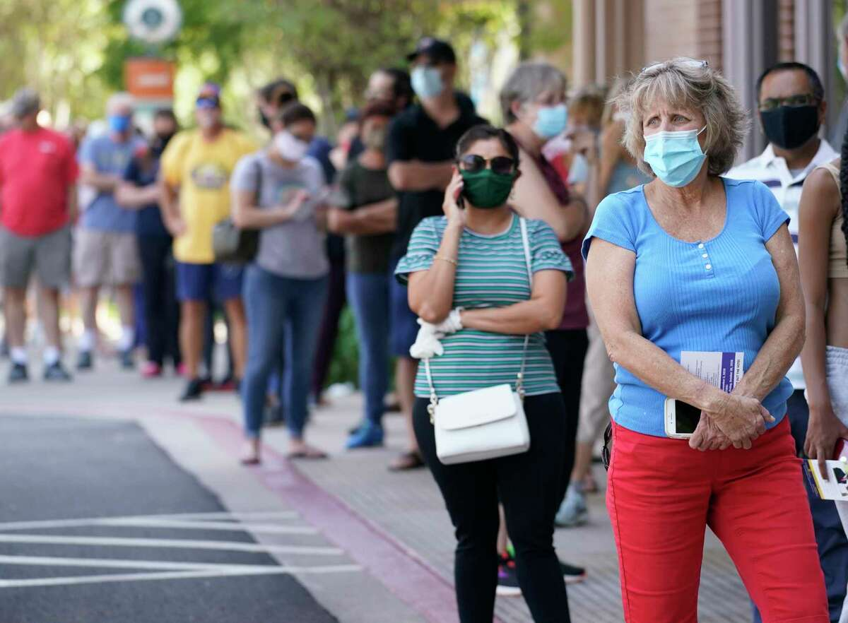 People wait in The Woodlands during early voting Oct. 14. If the presidential election is close, a full ballot count could delay results well after Nov. 3.