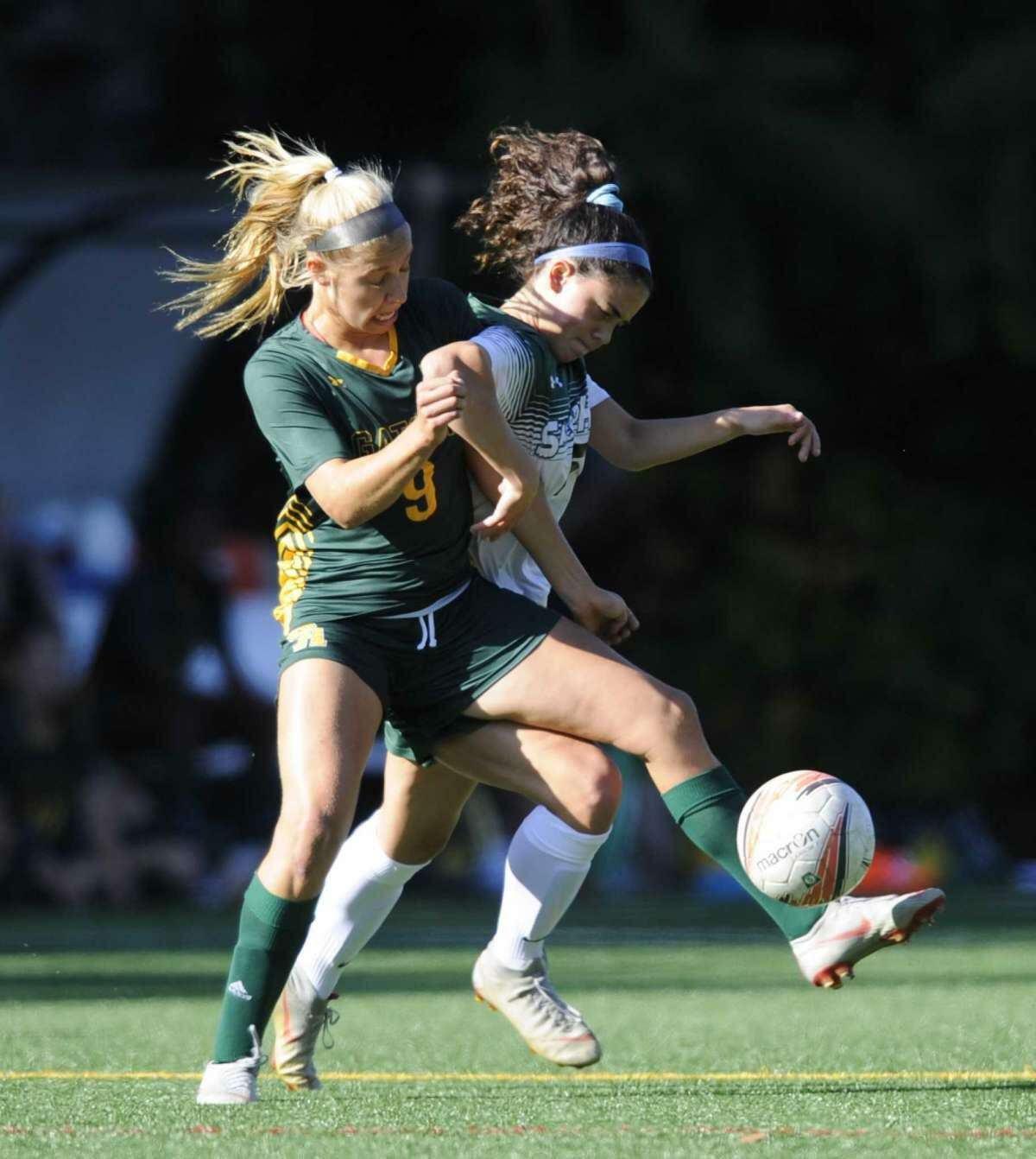 Paige Lipman, left, is a captain of the Greenwich Academy soccer team.