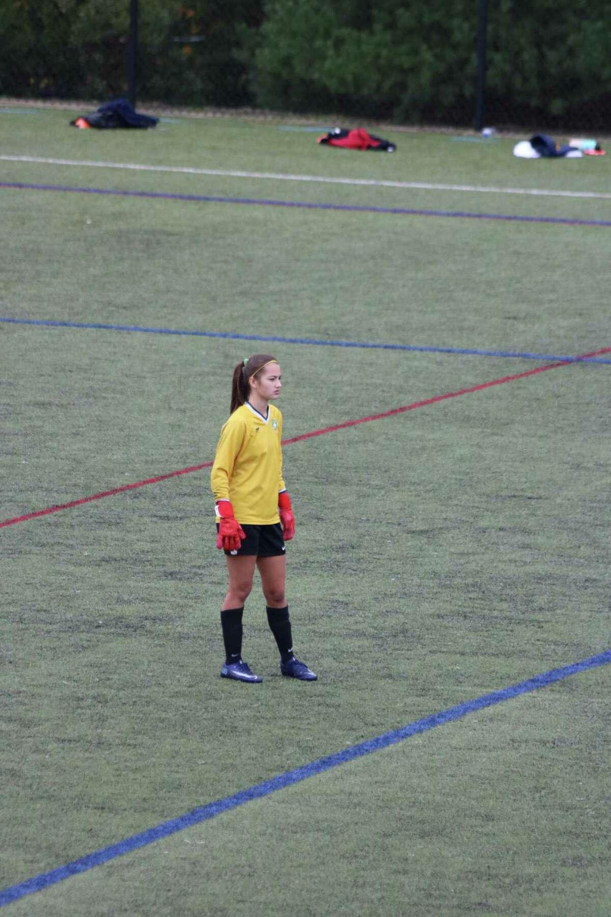 Senior goalie Ella Fugelsang is a senior captain of the Greenwich Academy soccer team