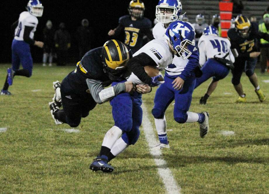 The Manistee football team cruised past Kalkaska on Friday, Oct. 31, 2020 for the program's first-ever playoff win. Photo: Dylan Savela/News Advocate