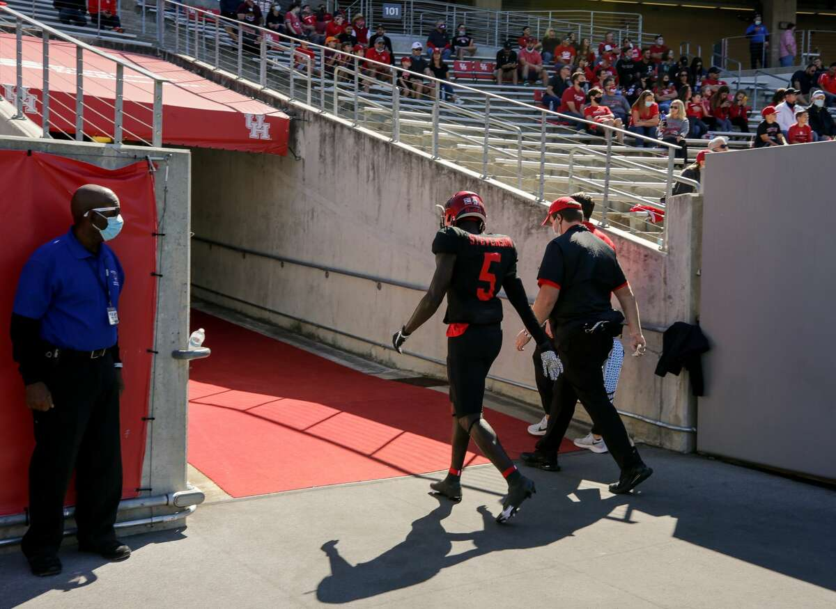 Houston Cougars wide receiver Marquez Stevenson, walking into the locker room following an injury against UCF, is doubtful to play at Cincinnati.