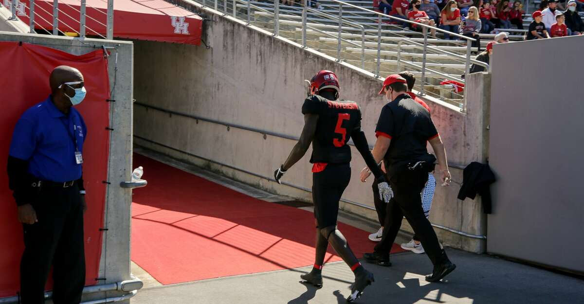 Houston Cougars wide receiver Marquez Stevenson (5) walks into the locker room following an injury during the first half of an NCAA game against the UCF Knights at TDECU Stadium on Saturday, Oct. 31, 2020, in Houston.