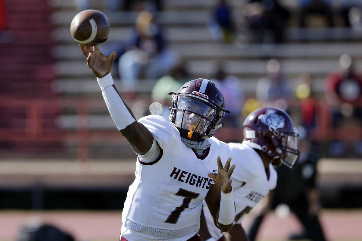 Heights quarterback Jalen Morrison passes against Westside during their their game at Butler Stadium Saturday, Oct. 31, 2020 in Houston, TX.