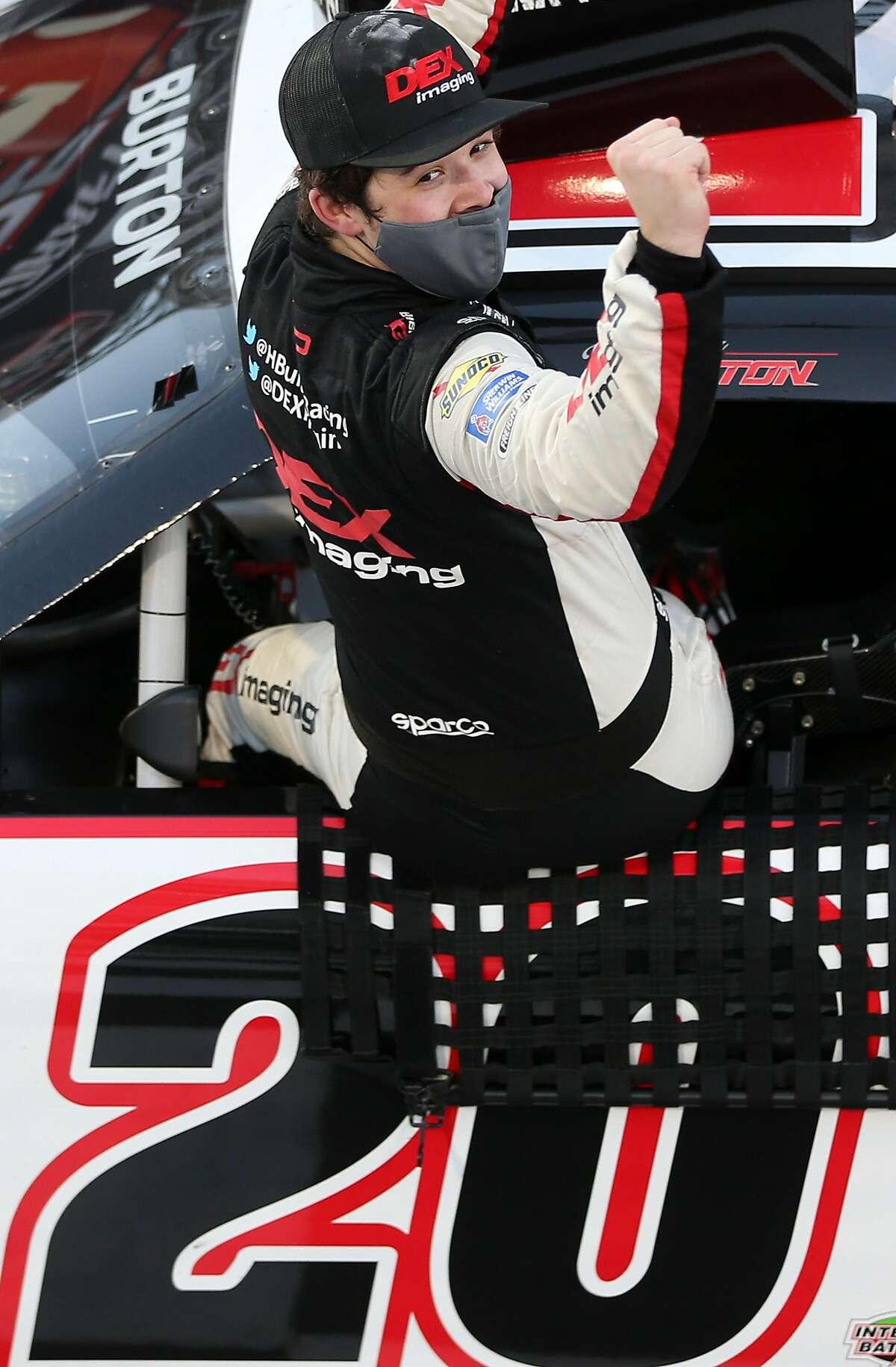 Harrison Burton celebrates after winning the NASCAR Xfinity Series race at Martinsville Speedway in Virginia.