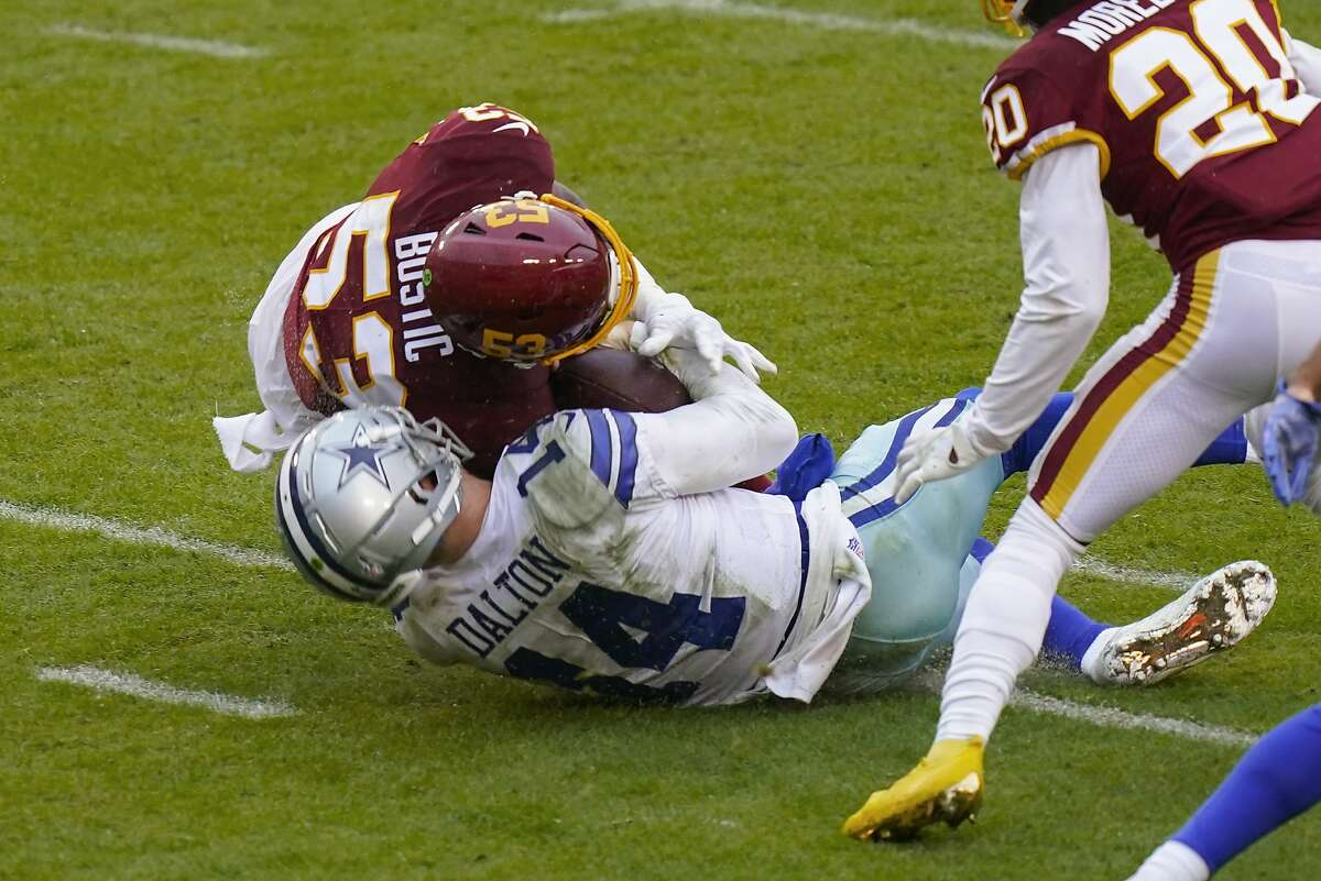 Cowboys quarterback Andy Dalton is hit by Washington's Jon Bostic last week. Dalton left the field after the hit, and the linebacker was ejected from the game and later fined $12,500.
