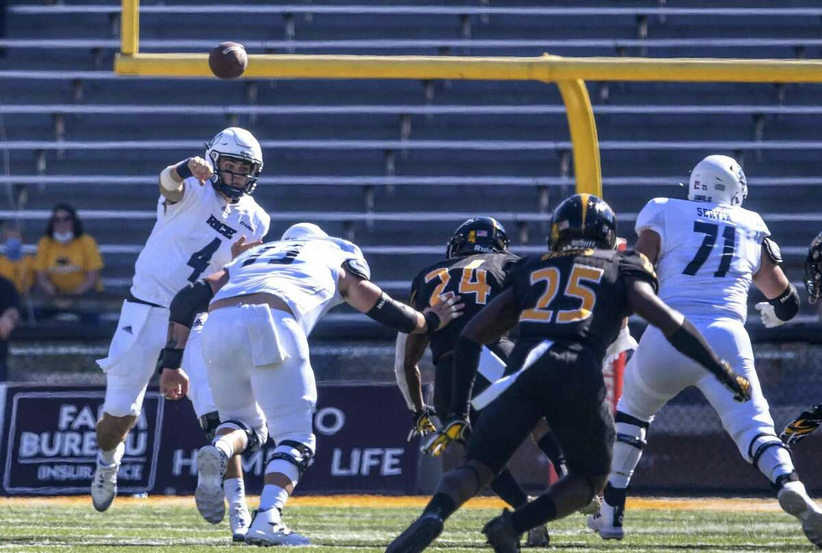 Rice quarterback Mike Collins throws a pass against Southern Miss during an NCAA college football game in Hattiesburg, Miss., Saturday, Oct. 31, 2020. (Cam Bonelli/Hattiesburg American via AP)