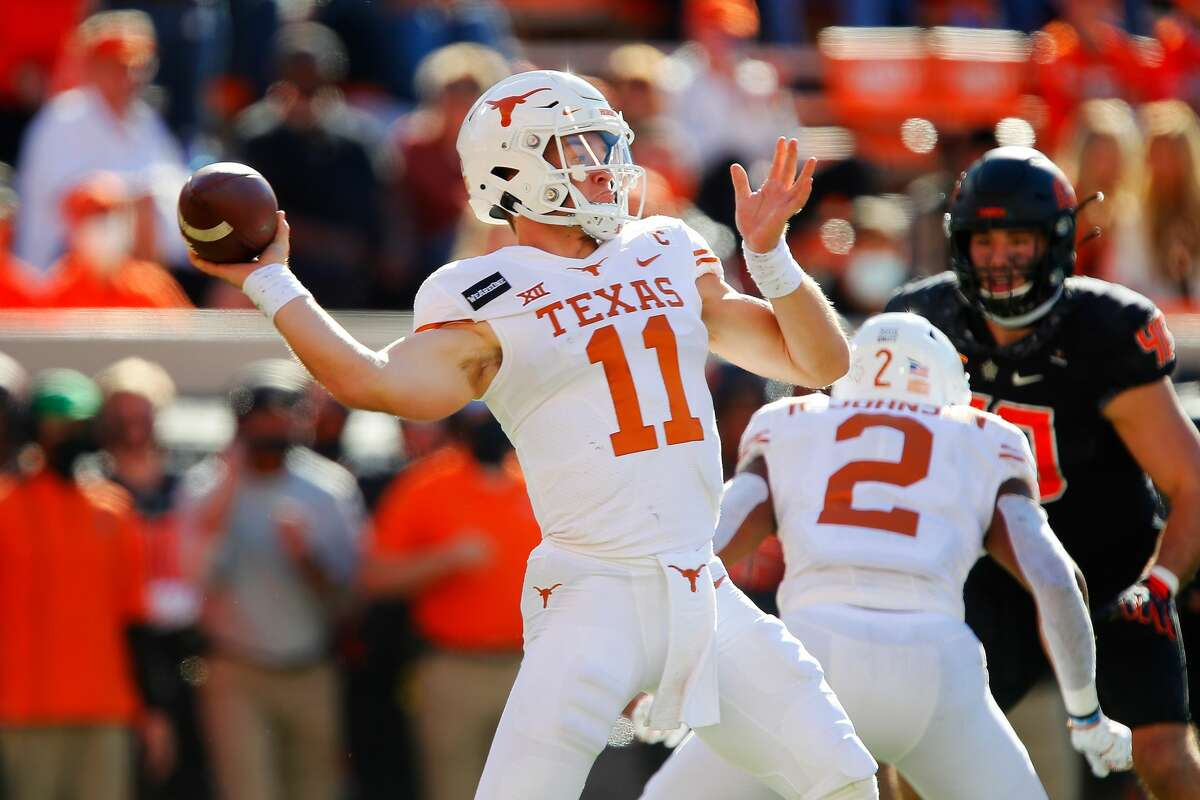 STILLWATER, OK - OCTOBER 31: Quarterback Sam Ehlinger #11 of the Texas Longhorns throws against the Oklahoma State Cowboys in the second quarter at Boone Pickens Stadium on October 31, 2020 in Stillwater, Oklahoma. (Photo by Brian Bahr/Getty Images)