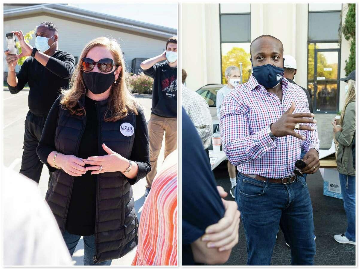 Democratic U.S. Representative Lizzie Pannill Fletcher and Republican congressional candidate Wesley Hunt campaign Saturday, Oct. 31, 2020.
