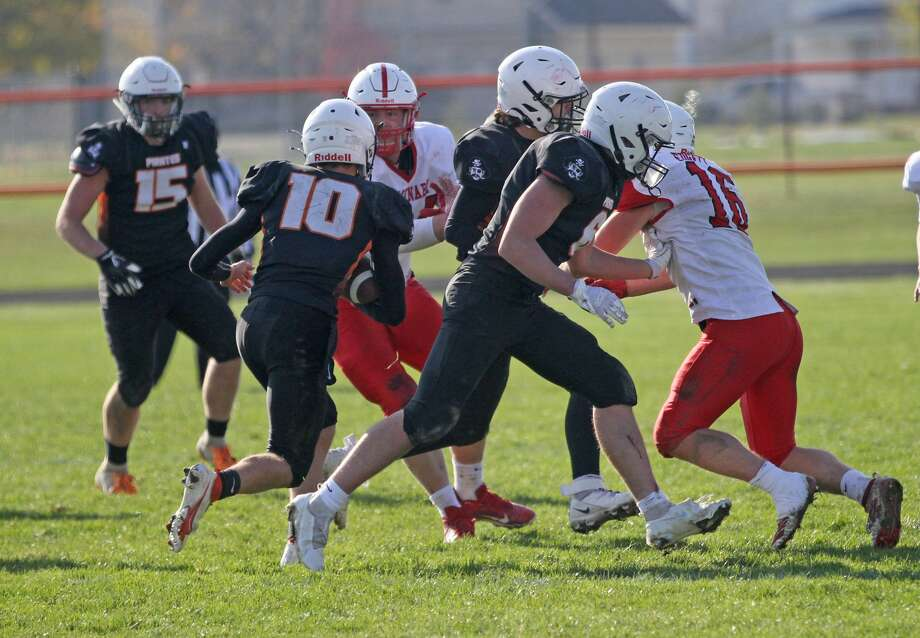 The Harbor Beach varsity football team opened the 2020 MHSAA playoffs with a 28-6 victory over Saginaw Michigan Lutheran Seminary on Saturday afternoon. Photo: Mark Birdsall/Huron Daily Tribune