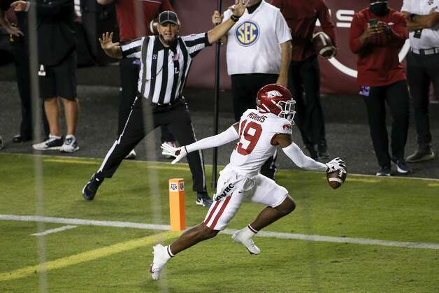 COLLEGE STATION, TEXAS - OCTOBER 31: Tyson Morris #19 of the Arkansas Razorbacks catches a pass for a touchdown in the second quarter against the Texas A&M Aggies at Kyle Field on October 31, 2020 in College Station, Texas. (Photo by Tim Warner/Getty Images) Photo: Tim Warner/Getty Images / 2020 Getty Images