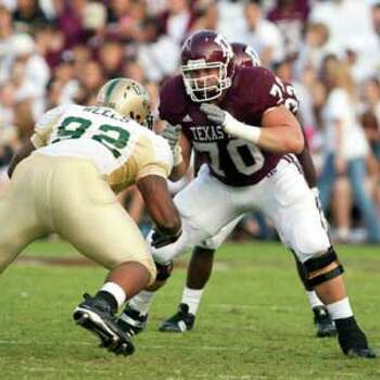 Matt Allen, who transferred to Texas A&M from LSU two years ago, is adapting to his new position at center, after starting six games at guard last year