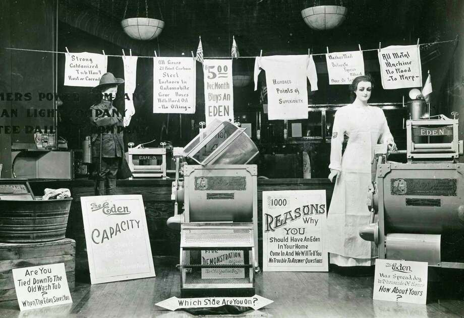 A window display set up in the Consumers Power Company formerly located at 356 River St. (Manistee County Historical Museum photo)