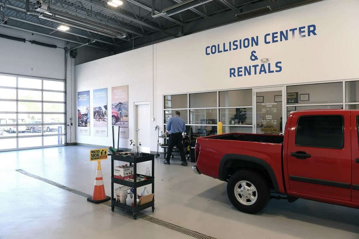 The entrance to the Collision Center at Richard Chevrolet in Cheshire on October 27, 2020.