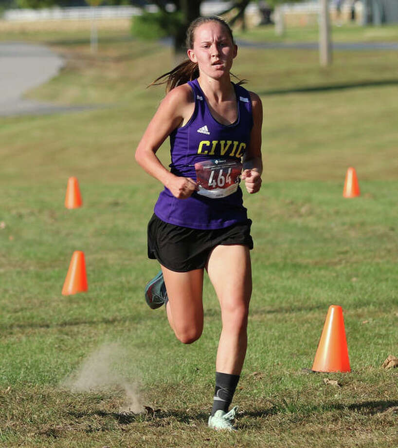 CM's Hannah Meiser, shown during her win at the Madison County Meet on Oct. 6 at Belk Park in Wood River, earned state qualifier status Saturday with a fourth-place finish at the Class 2A sectional girls cross country meet in Olney. Photo: Greg Shashack / The Telegraph