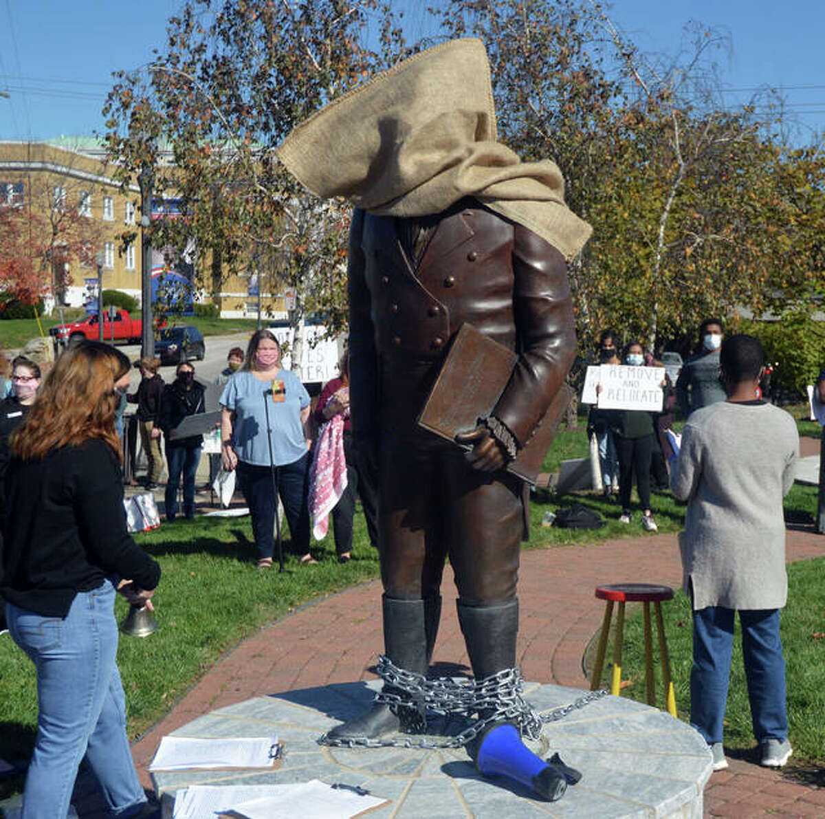 An October 2020 rally called for the removal of the Ninian Edwards statue. Edwards' historical information came to light which lead to calls for it to be taken down. In life, Edwards is said to have supported slavery.
