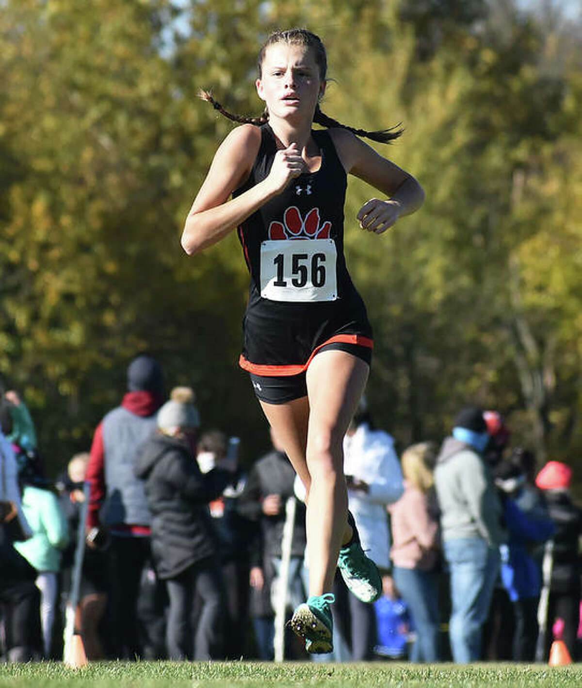 Edwardsville freshman Dylan Peel runs the course at Maxwell Park on her way to a 39th-place finish in 19:42.42 on Saturday at the Normal Class 3A Sectional.