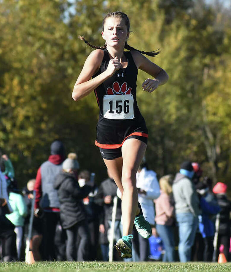 Edwardsville freshman Dylan Peel runs the course at Maxwell Park on her way to a 39th-place finish in 19:42.42 on Saturday at the Normal Class 3A Sectional. Photo: Matt Kamp / Hearst Illinois
