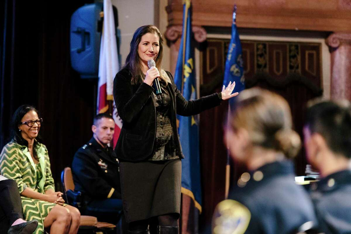 The Oakland Police Commission will host a forum Thursday highlighting the four candidates vying to be Oakland's next police chief. In this file photo from February, Mayor Libby Schaaf speaks to newly sworn in officers.