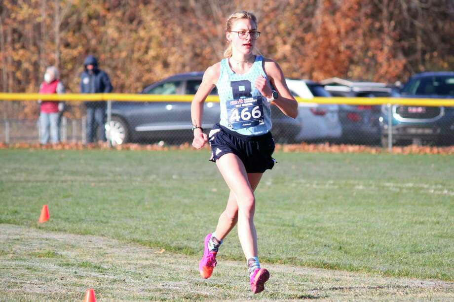 Brethren senior Alexis Tracy will make a return trip to the Division 4 cross country state finals after qualifying during regional competition on Saturday in Buckley.(Robert Myers/News Advocate)