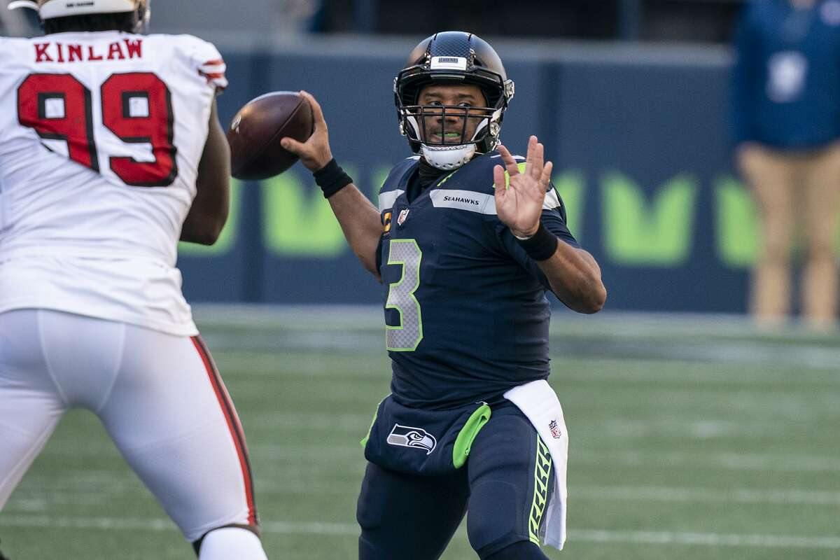 Seattle Seahawks quarterback Russell Wilson passes the ball during the first half of an NFL football game against the San Francisco 49ers, Sunday, Nov. 1, 2020, in Seattle. (AP Photo/Stephen Brashear)
