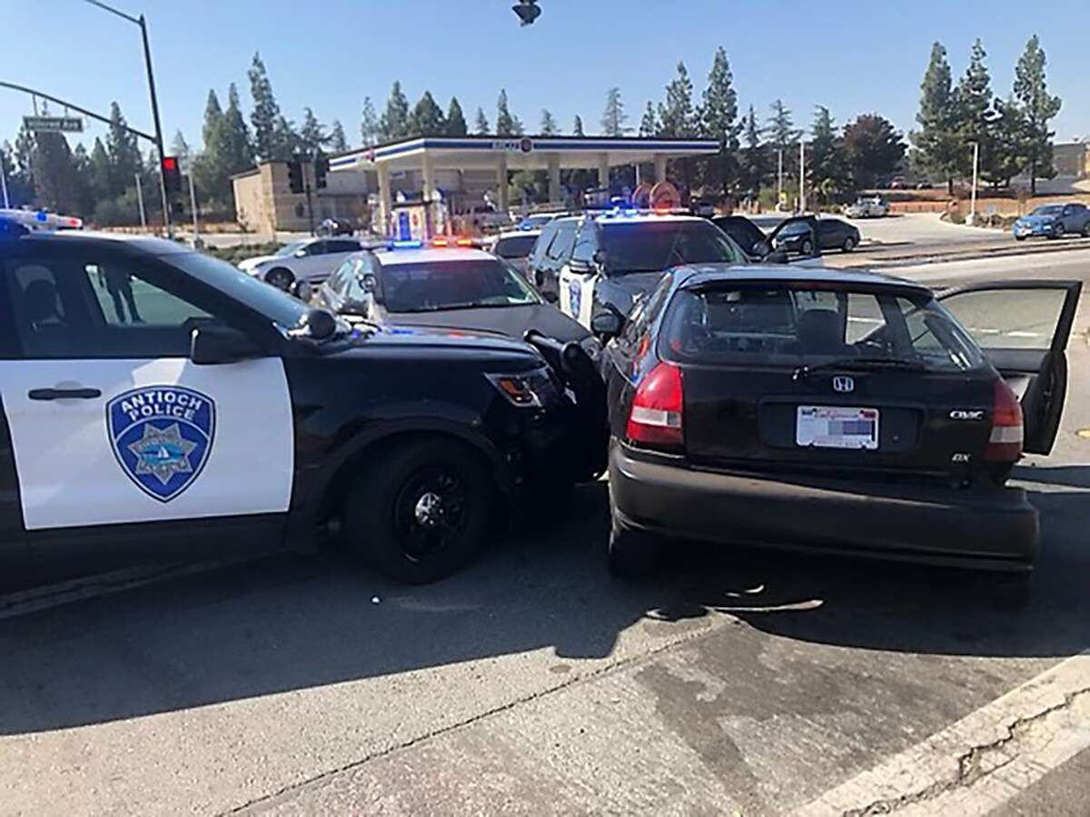 Antioch police say a 13-year-old was found to be driving a car that had been stolen during an armed carjacking in Oakland. Police stopped the car and released this photo of the scene.