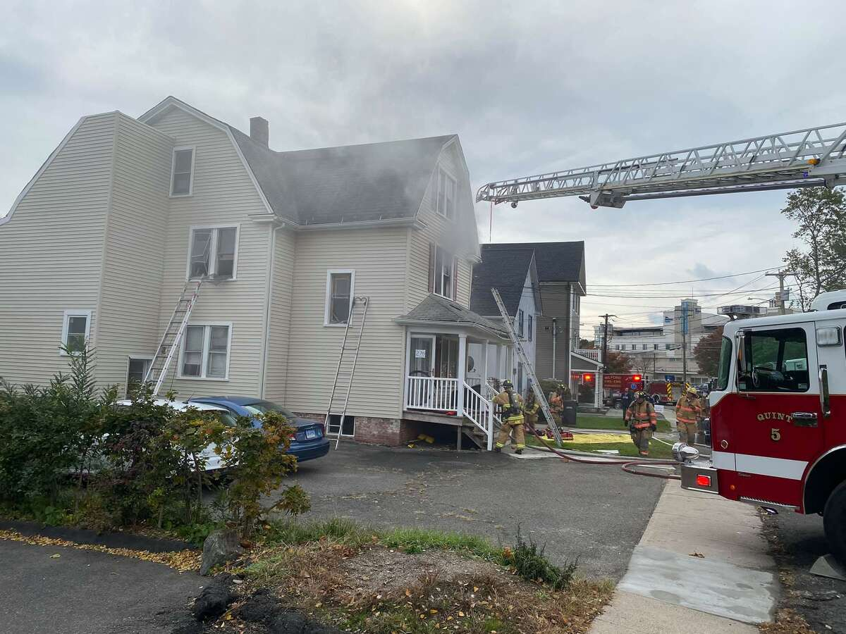 The Milford Fire Department rescued a dog while battling a blaze on Broad Street Sunday morning.