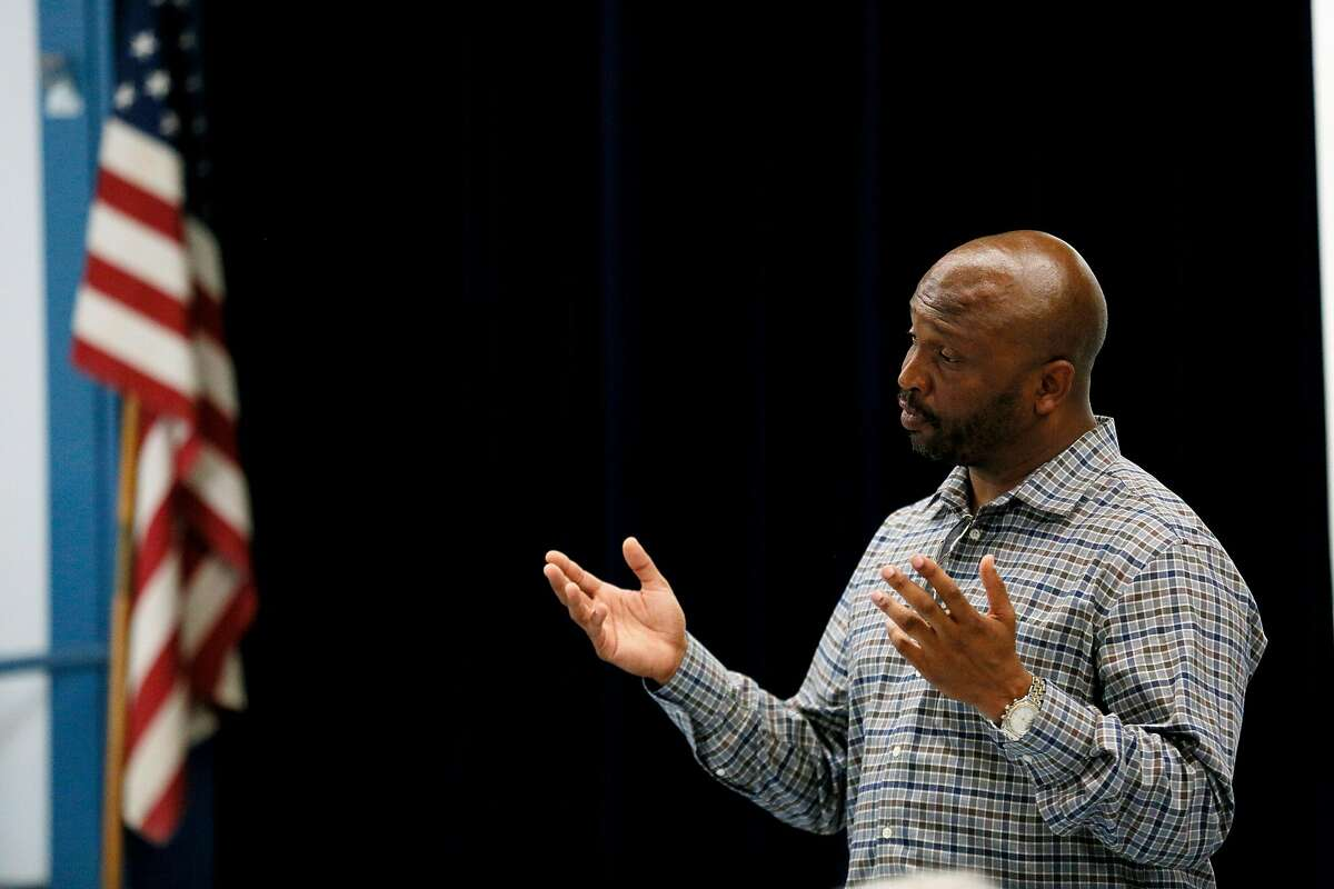 Vallejo City Council member Hakeem Brown during a town hall meeting at Pennycock Elementary School Saturday, June 22, 2019, in Vallejo, Calif.