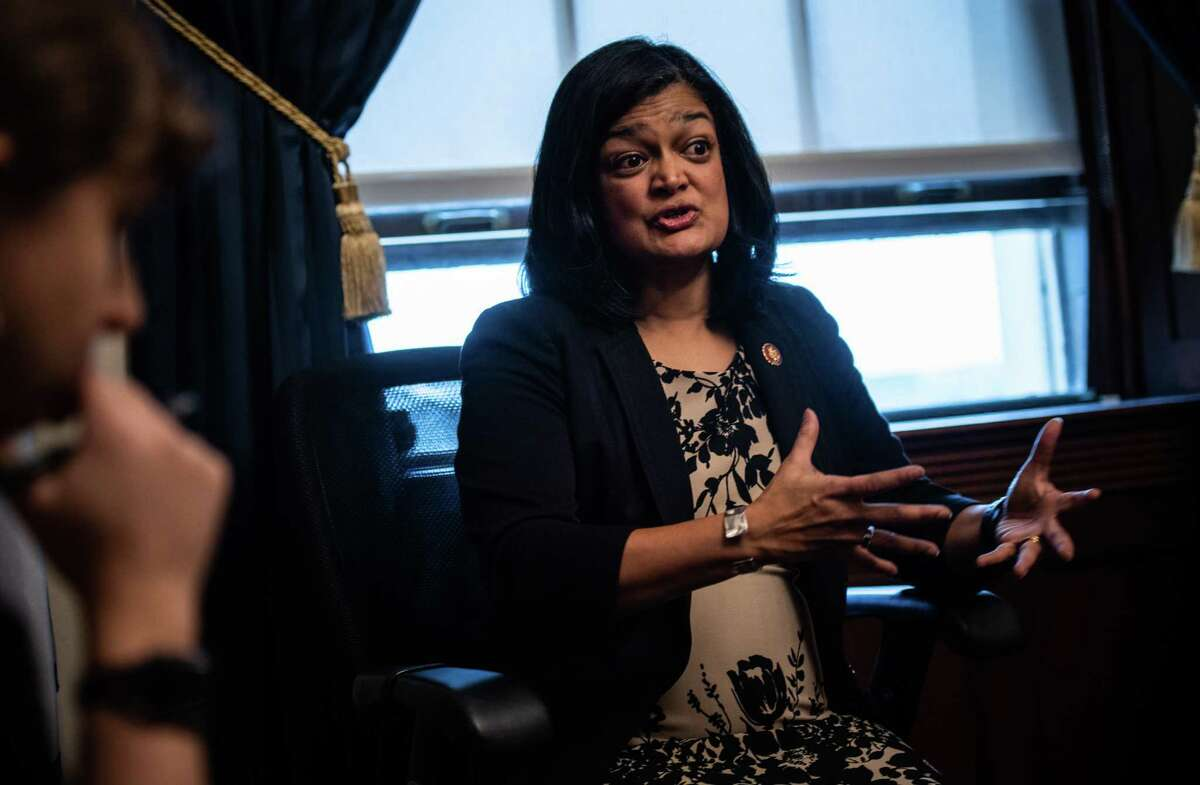 Rep. Pramila Jayapal, D-Wash., shown in January 2019, co-chairs the Congressional Progressive Caucus.