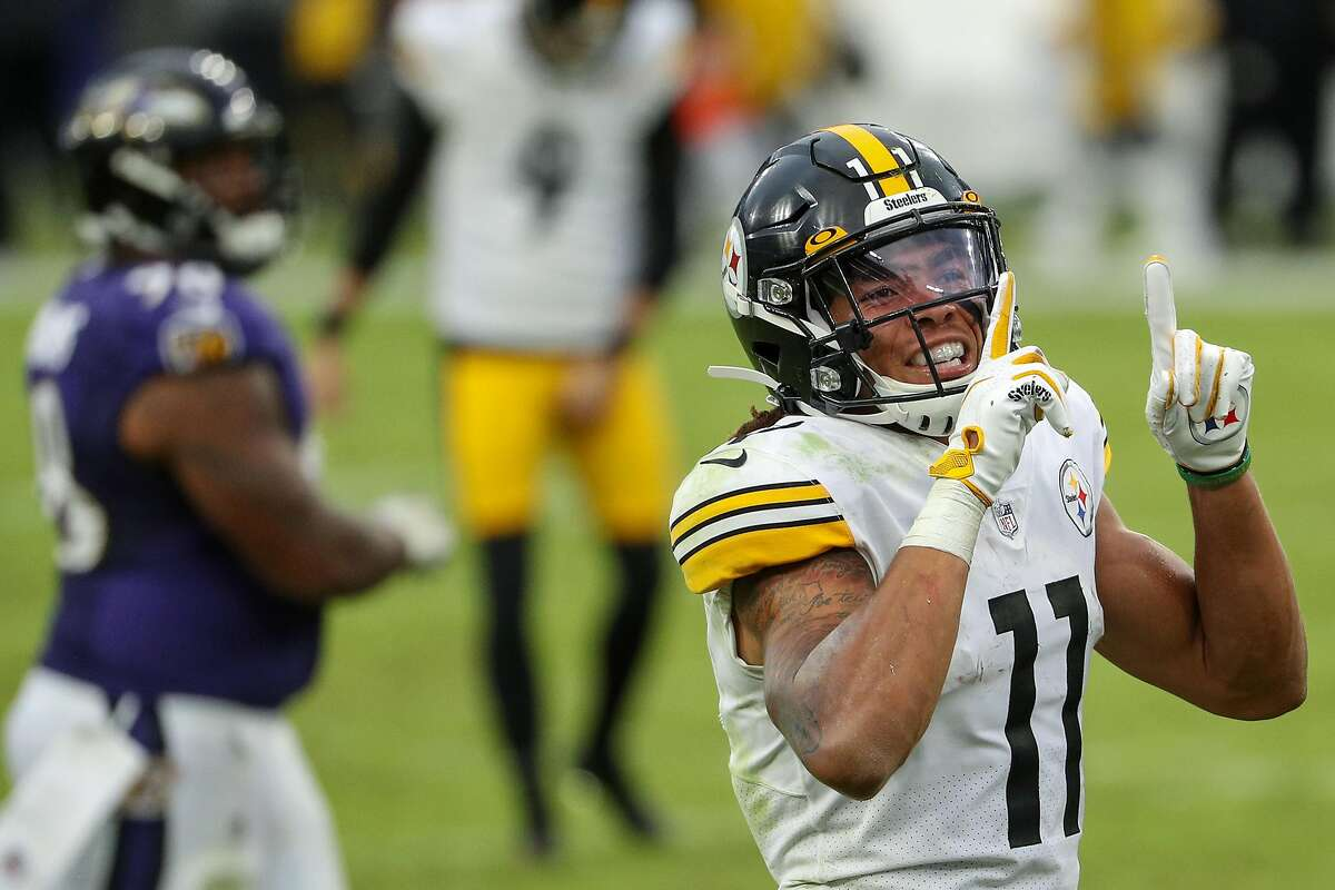 Rookie wide receiver Chase Claypool of the Pittsburgh Steelers celebrates after catching a fourth-quarter touchdown pass against the Baltimore Ravens.