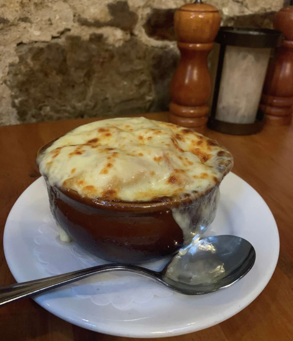 The French onion soup -- complete with a broiled cheesy top -- from the Olde Bryan Inn in Saratoga Springs.
