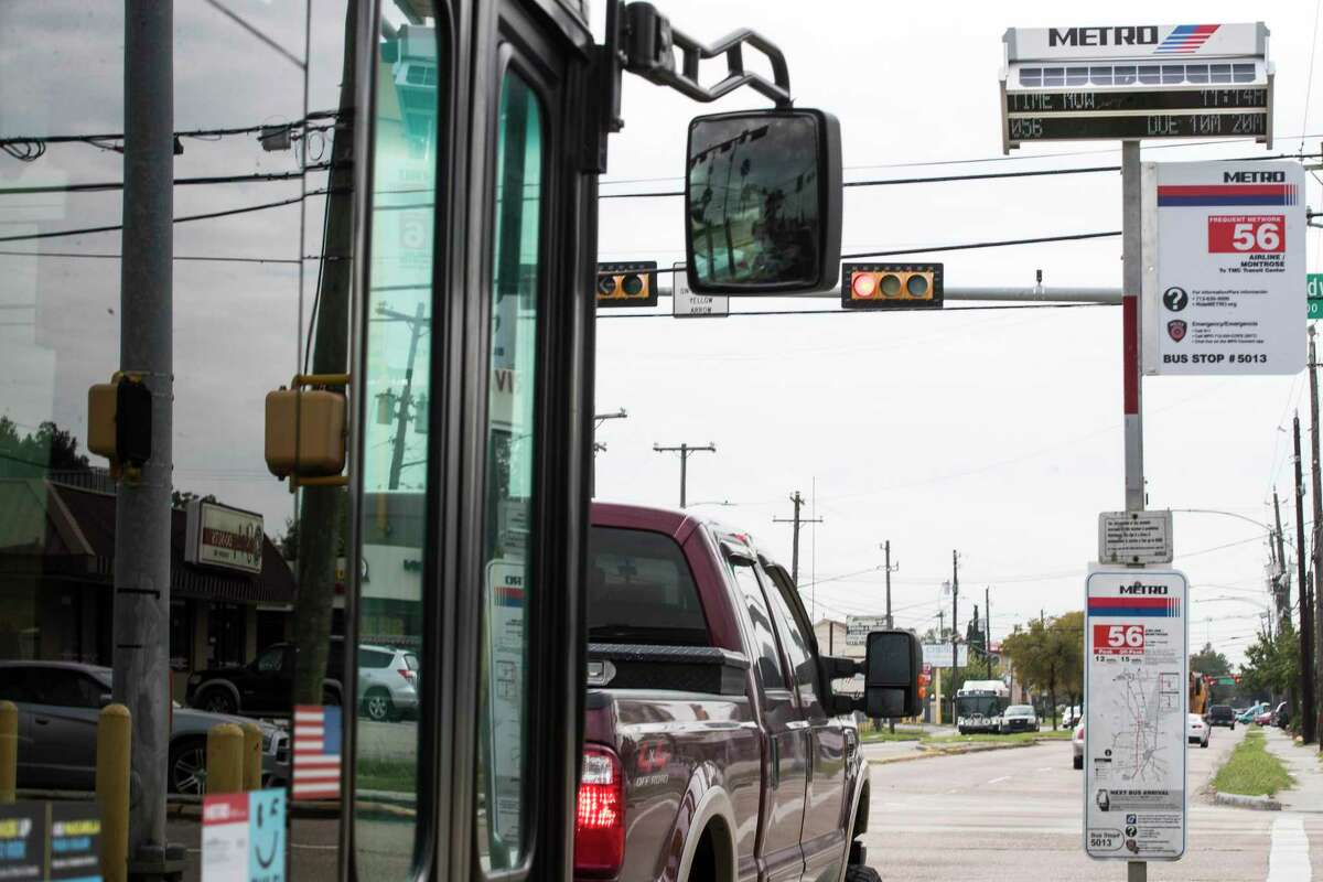 Signs that show bus arrival have been installed along the 56 bus route along Airline Monday, Oct. 26, 2020 in Houston.
