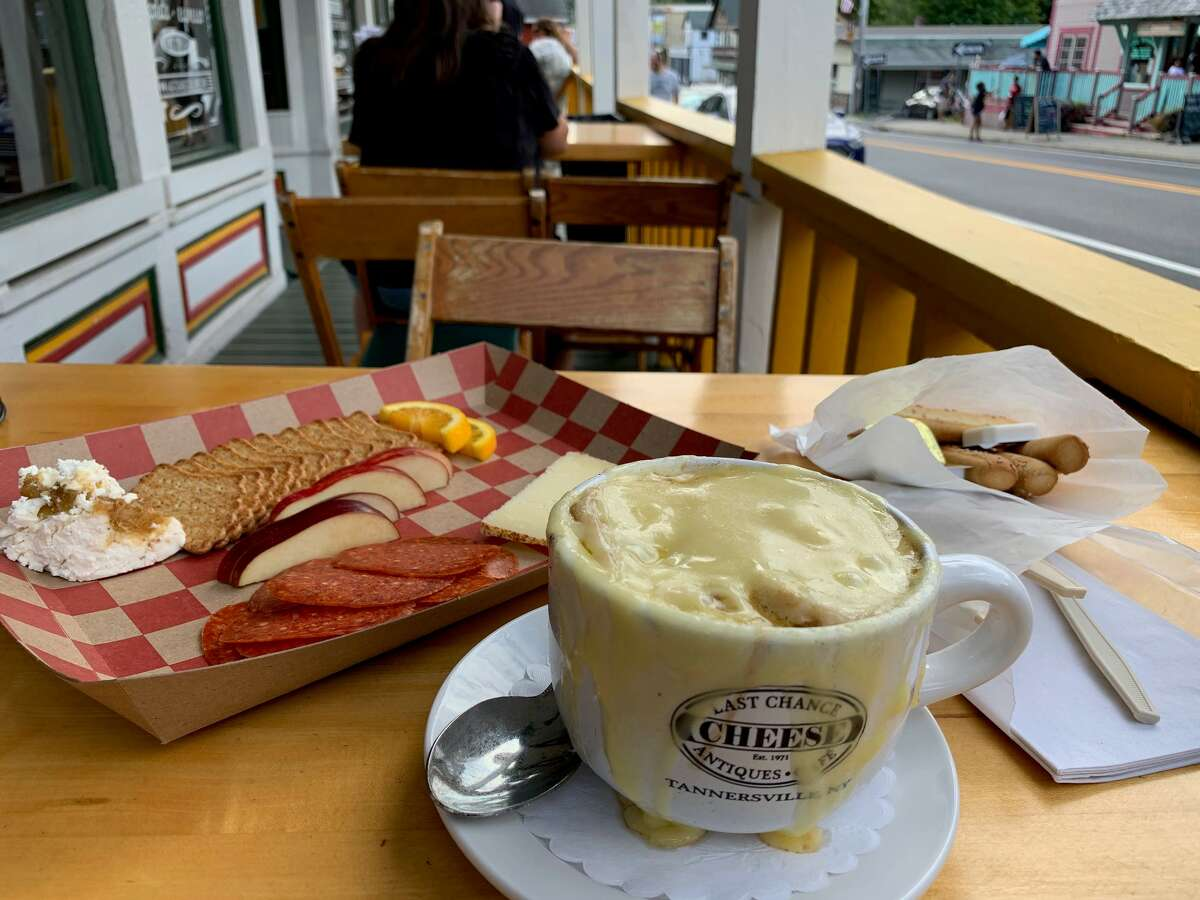 A cheesy dining experience -- that's a good thing -- at the Last Chance Antiques & Cheese Cafe in Tannersville.