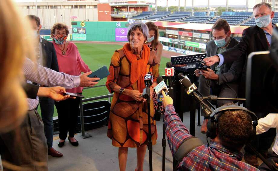 Congresswoman Rosa DeLauro speaks to the media during the virtual Democratic Convention for the nomination of Joe Biden for president at Dunkin' Donuts Park in Hartford in August. Photo: Christian Abraham / Hearst Connecticut Media / Connecticut Post