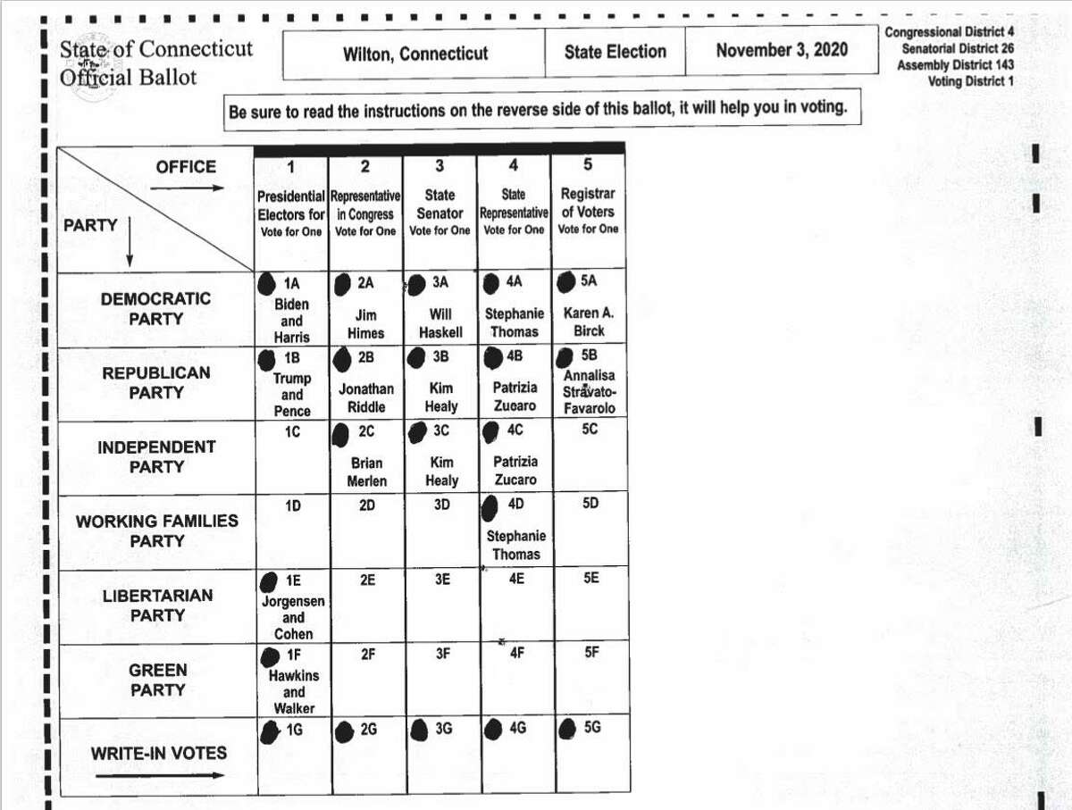 Sample ballot for Wilton Voting District 1 for the Nov. 3 election. Polling place: Wilton High School Field House, 395 Danbury Road. In addition to the presidential race, Voting District 1 includes races for the 143rd Assembly District, 26th State Senate, and 4th Congressional District.
