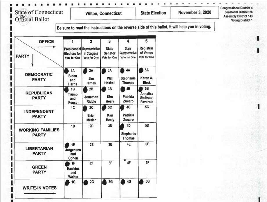 Sample ballot for Wilton Voting District 1 for the Nov. 3 election. Polling place: Wilton High School Field House, 395 Danbury Road. In addition to the presidential race, Voting District 1 includes races for the 143rd Assembly District, 26th State Senate, and 4th Congressional District. Photo: Wilton Registrar Of Voters