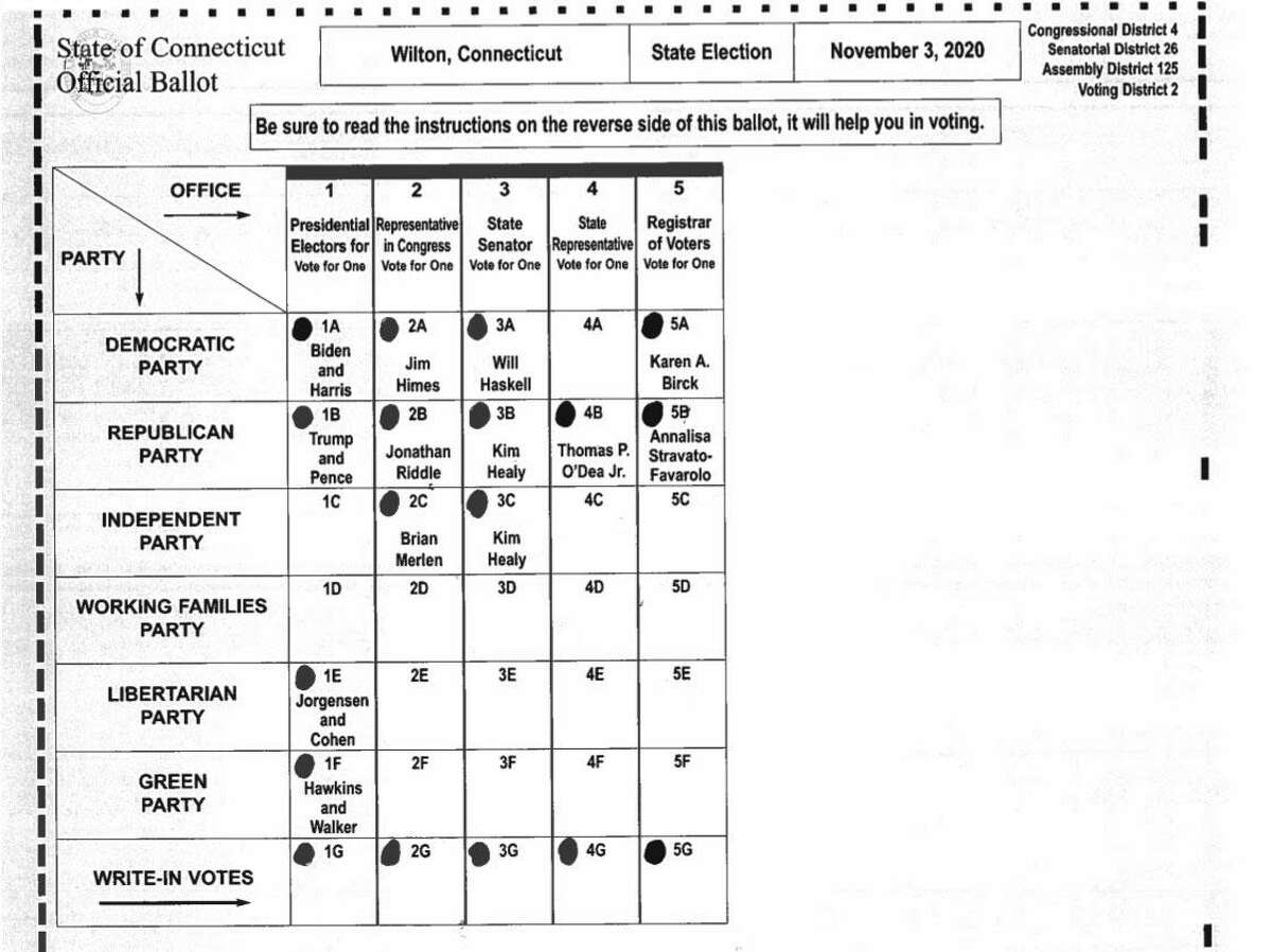 Sample ballot for Wilton Voting District 2 for the Nov. 3 election. Polling place: Cider Mill School Gym, 240 School Road. In addition to the presidential race, Voting District 2 includes races for 125th Assembly District, 26th State Senate, and 4th Congressional District.