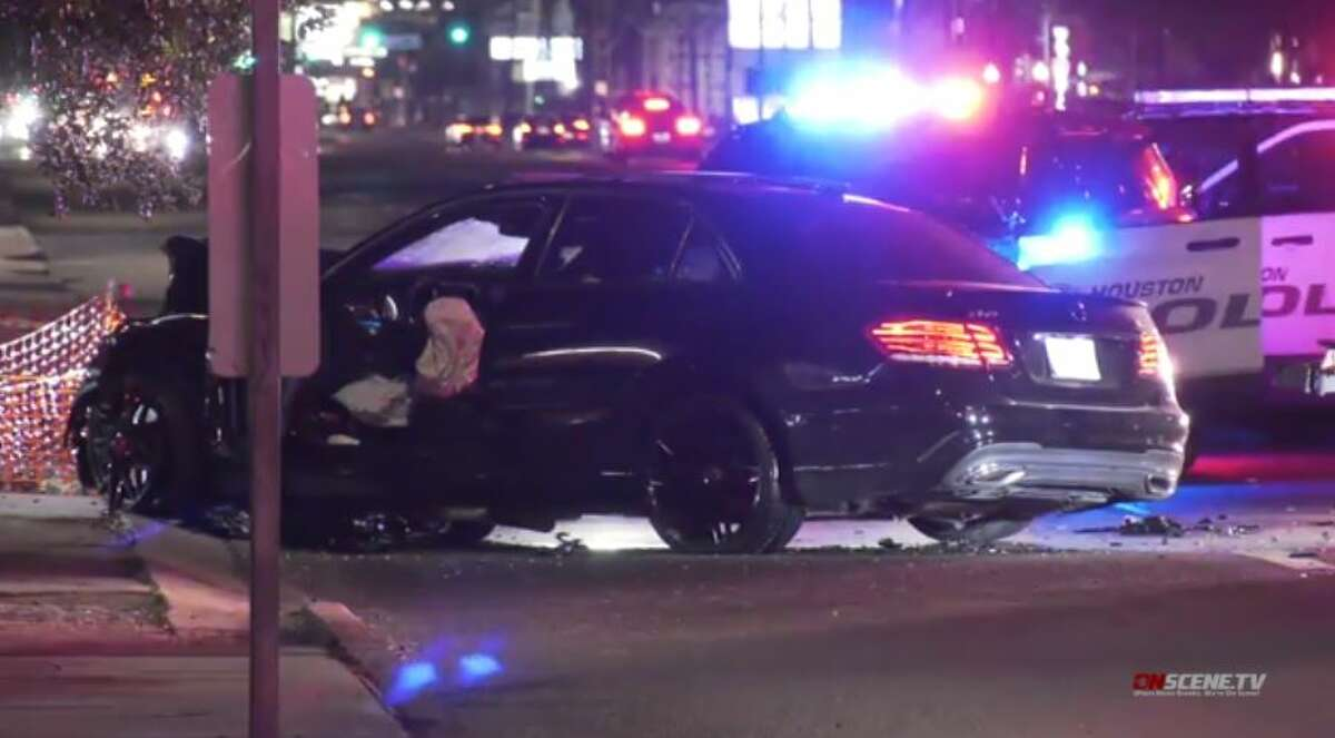 The driver of a Mercedes who police said was evading authorities crashed after striking a Cadillac on Westheimer in west Houston on Monday, Nov. 2, 2020.