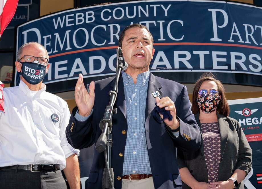 Democratic National Committee Chair Tom Perez, Congressman Henry Cuellar and U.S. Senator candidate MJ Hegar rally supporters during a gathering Sunday, Nov. 1, 2020, at the Webb County Democratic Party Headquarters. Photo: Danny Zaragoza, Staff Photographer / Laredo Morning Times