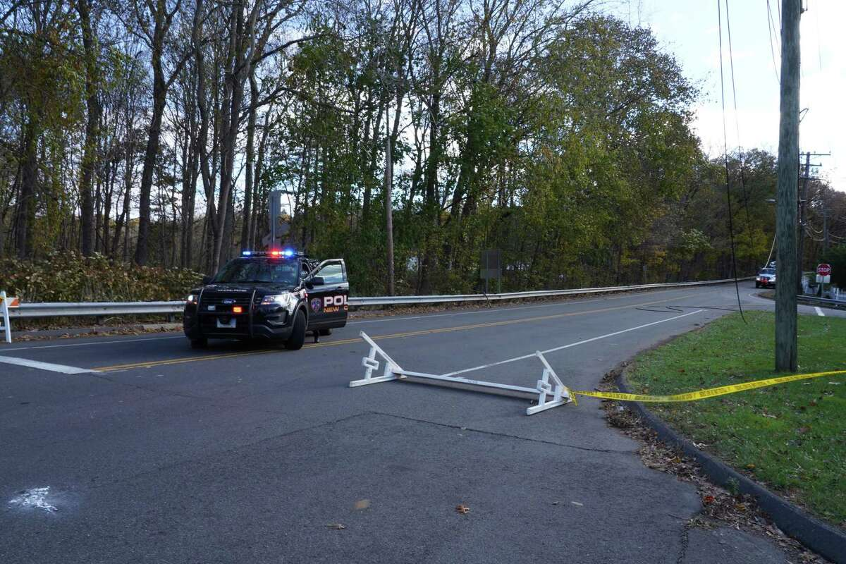 New Norwalk Road near East Avenue in New Canaan is expected to be closed for as much as six to seven hours, with downed wires, on Monday, Nov. 2, 2020. It was so blustery it blew down the barrier on Rt. 123.