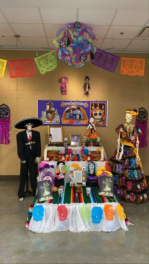 An altar dedicated to Roberto C. Botello Jr., first principal at the Vidal M. Treviño School of Communications and Fine Arts, is on display at the school. Photo: Courtey /VMT