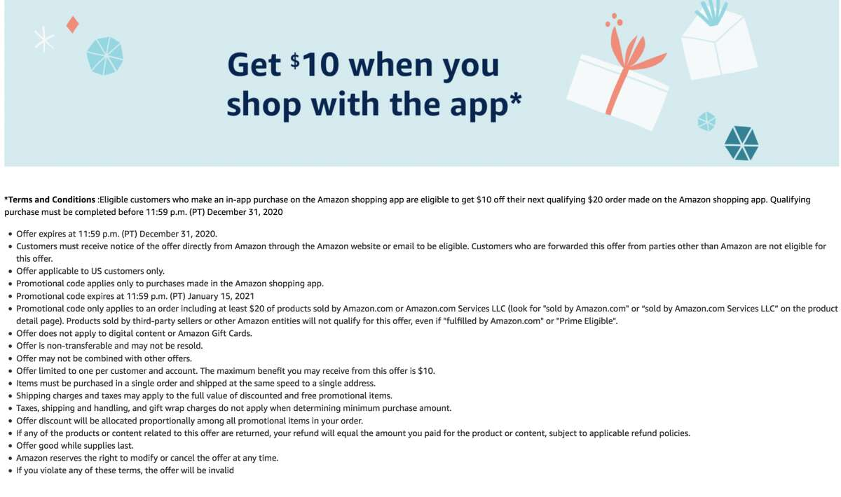 The landing page for customers eligible for the $10 app credit promotion.