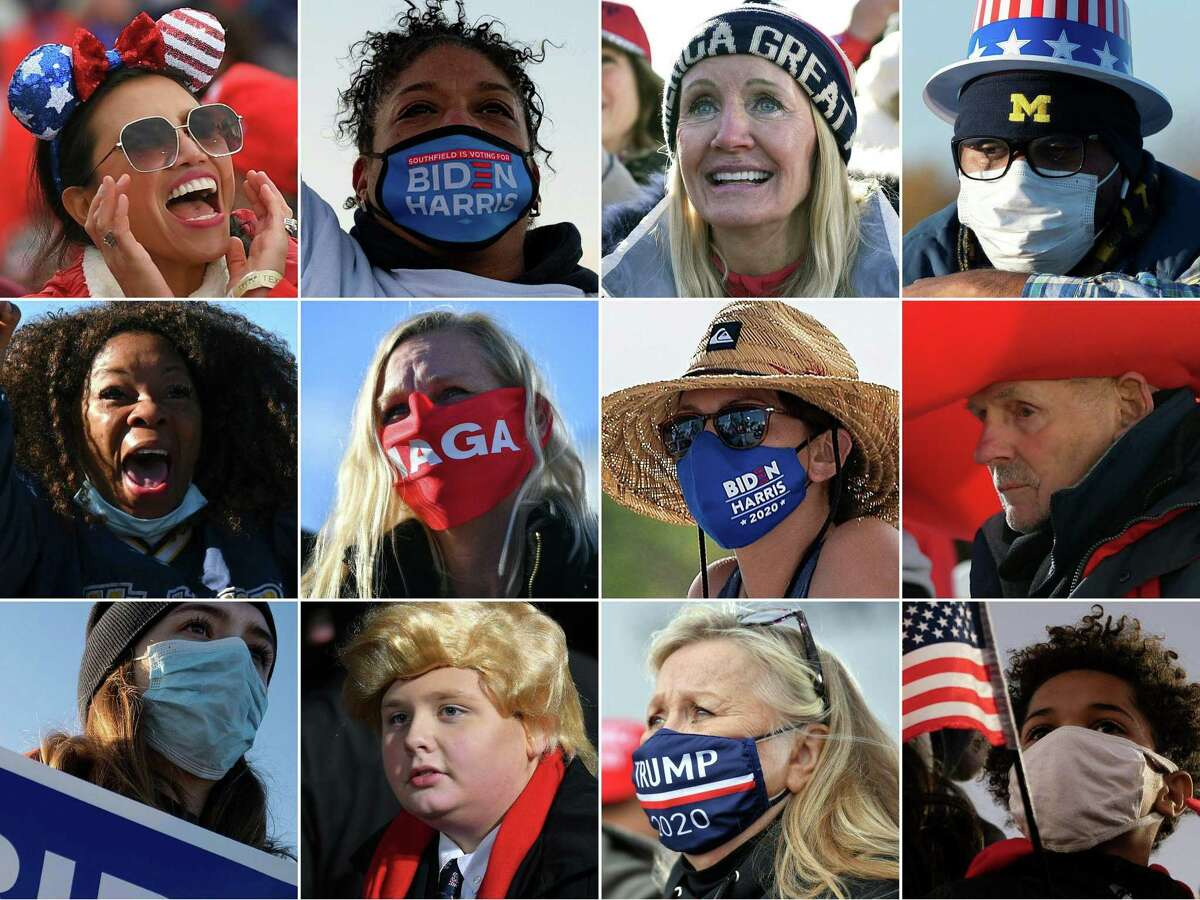 (COMBO) This combination of pictures created on November 01, 2020 shows supporters of US President Donald Trump and Democratic presidential candidate Joe Biden during various campaign rallies in key states between October 29-31, 2020. - Trump was visiting five swing states November 1, 2020 in a furious blitz of campaigning against challenger Joe Biden with just two days left before a US presidential election that has already drawn a record number of early votes. Biden focused Sunday on a state vital to both men: Pennsylvania, where the former vice president plans two socially distanced events in Philadelphia. The last-minute scramble came as polls showed Biden maintaining his overall lead but with some tightening in states including Pennsylvania, where he leads by a half-dozen points, and in another key state, Florida, a margin-of-error tossup. (Photos by MANDEL NGAN and Jim WATSON / AFP) (Photo by MANDEL NGAN,JIM WATSON/AFP via Getty Images)