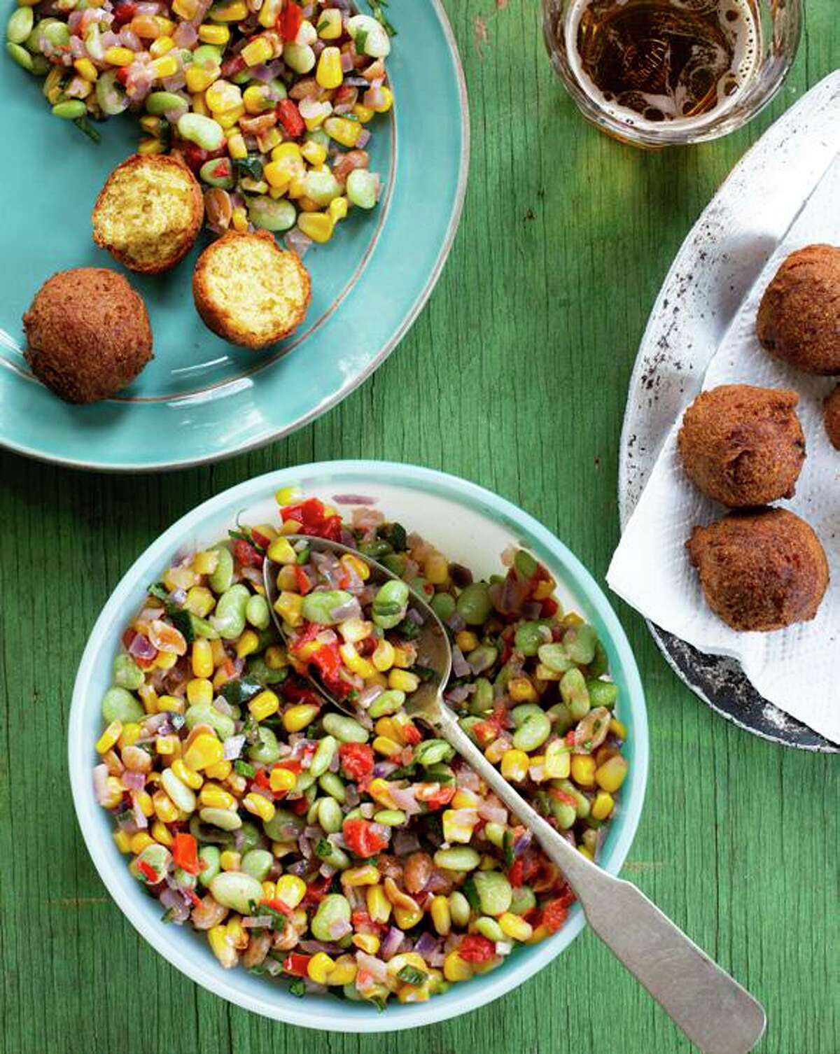 Hushpuppies with Peanut Succotash from Rodney Scott is among the recipes in