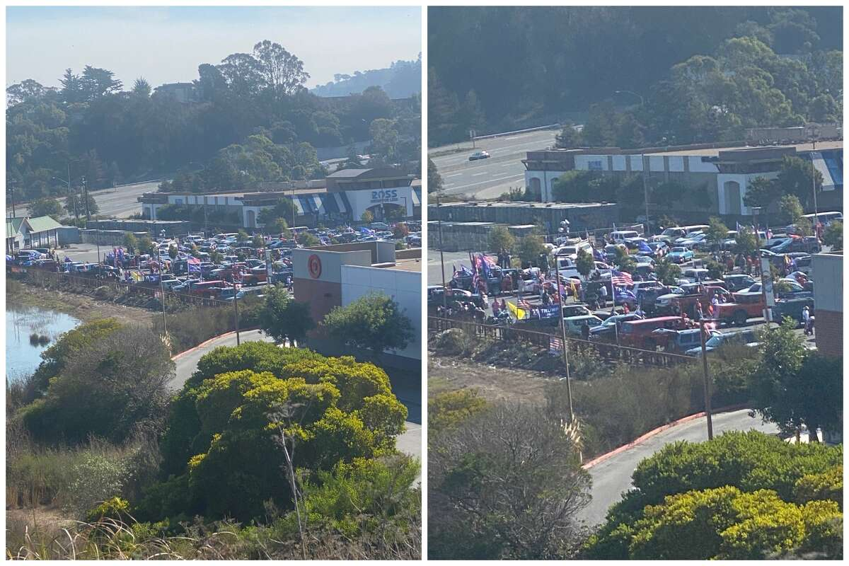 More than 350 trucks packed with more than 1,000 demonstrators paraded through Marin County on Sunday, Nov. 1, 2020.