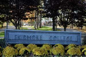 The North Broadway entrance to Skidmore College on Monday, Nov. 2, 2020, in Saratoga Springs, N.Y. Skidmore College suspended 46 students after they attended a party in violation of the college's COVID-19 rules. (Will Waldron/Times Union)
